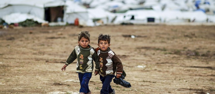 Syrian boys at refugee camp