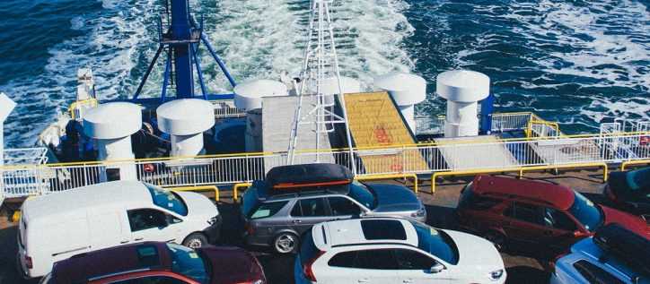 Transport ferry crossing over to Newfoundland carrying many vehicles