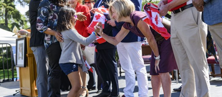 Alberta Premier Rachel Notley greets new Canadian citizens following a citizenship ceremony.
