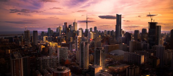 Toronto's city skyline at sunset