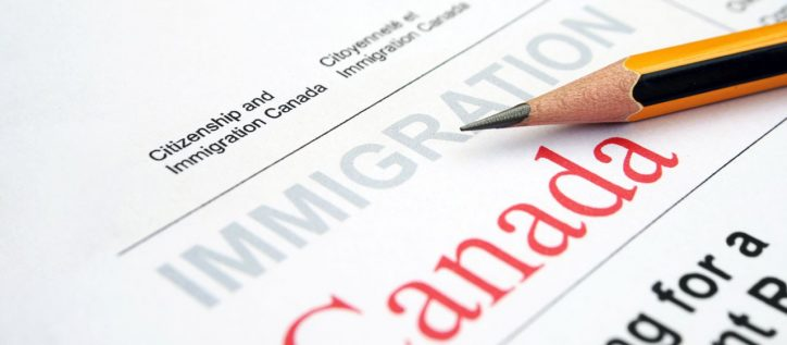 canadian immigration application document with pencil