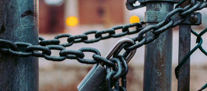 Chains locking a fence
