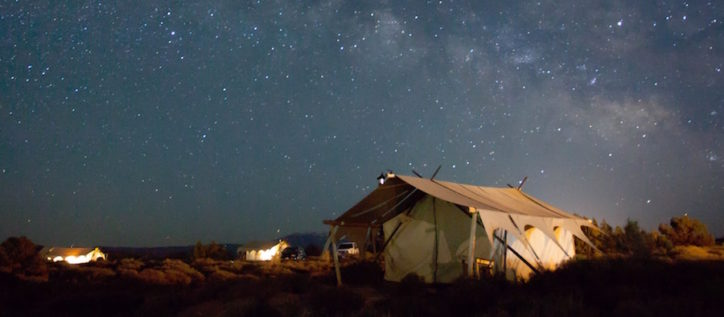 Refugee tent at night