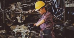 Industrial worker wearing a hard hat