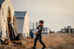 Young boy in refugee camp