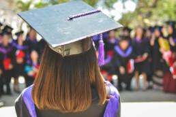 Woman wearing graduation cap