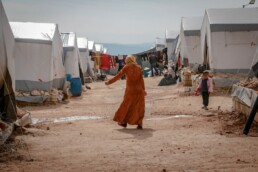 Refugee woman in refugee camp
